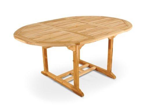SAM® Teak-Holz, Ausziehtisch mit Schirmloch, massiver Gartentisch mit Platz für die ganze Familie, Holztisch mit geschliffener Oberfläche, ca. 120-170 x 120 cm [521290]