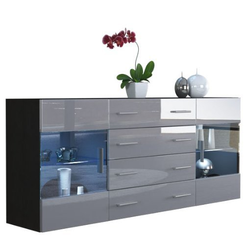 sideboard kommode bari v2 korpus in schwarz matt front in grau hochglanz m bel24 m bel. Black Bedroom Furniture Sets. Home Design Ideas