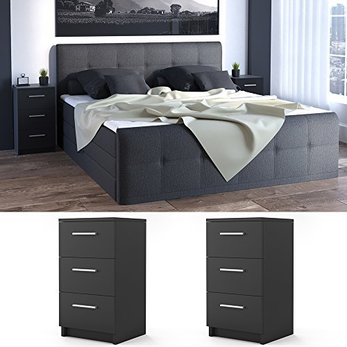 nachtkommode f r boxspringbett 2 er set 66cm hoch schwarz nachtschrank nachttisch kommode. Black Bedroom Furniture Sets. Home Design Ideas