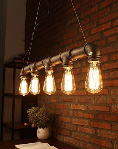 Natsen® E27 40W Retro Kronleuchter Bar Pendelleuchten Balkon treppe Industrierohre Stil Wasser Leuchter lampe CD084