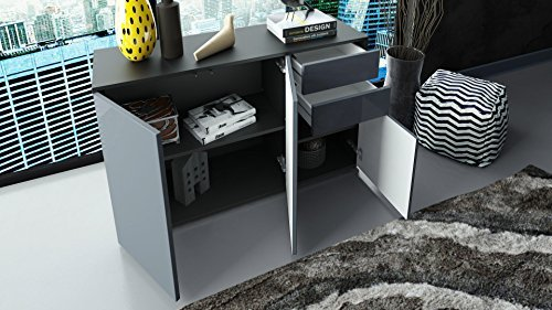 kommode sideboard ben v3 korpus in schwarz matt fronten in schwarz matt m bel24 shop. Black Bedroom Furniture Sets. Home Design Ideas
