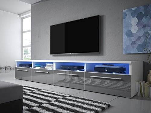 tv schrank siena double lowboard sideboard mit led wei. Black Bedroom Furniture Sets. Home Design Ideas