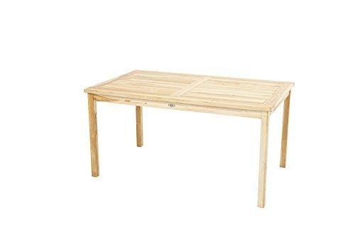 Ploß Gartentisch Pittsburgh Eco - Teakholz-Tisch mit SVLK-Zertifikat - Terrassentisch für 4 bis 6 Personen - Esstisch Braun für den Garten - Holz-Gartenmöbel mit polierter Oberfläche
