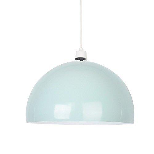 Kuppelförmiger und glänzender Lampenschirm aus minzgrünem und weißem Metall – für Hänge- und Pendelleuchte