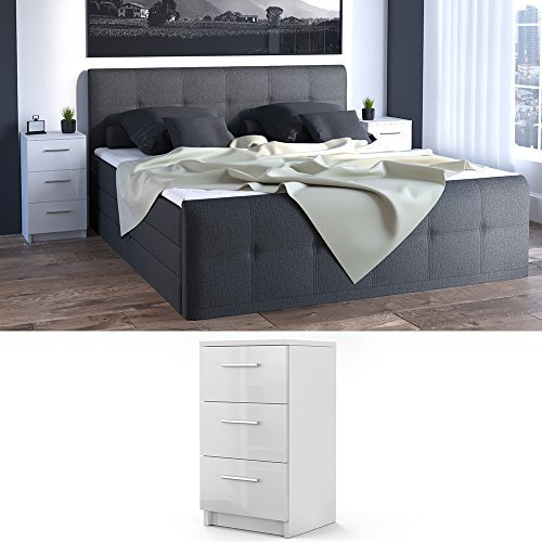 nachtkommode f r boxspringbett 66cm hoch wei hochglanz nachtschrank nachttisch kommode schrank. Black Bedroom Furniture Sets. Home Design Ideas