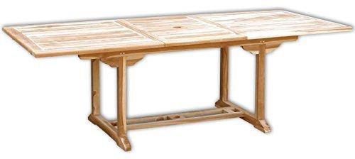 KMH®, Ausziehbarer Gartentisch - ECHT TEAK! (170 - 230 x 100 cm / rechteckig) (#102110)