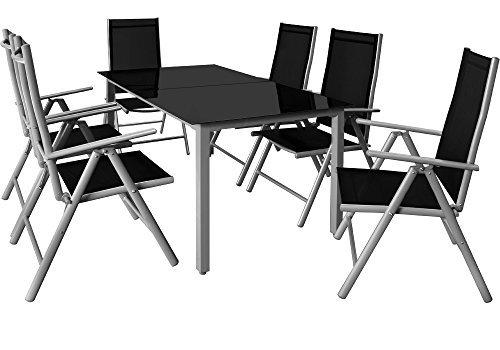 6+1 Sitzgruppe Alu Sitzgarnitur Gartenmöbel Gartenset Essgruppe Gartengarnitur Klappstuhl ✔6 verstellbare Stühle ✔Tisch höhenverstellbar ✔wetterfest Drinnen & Draußen