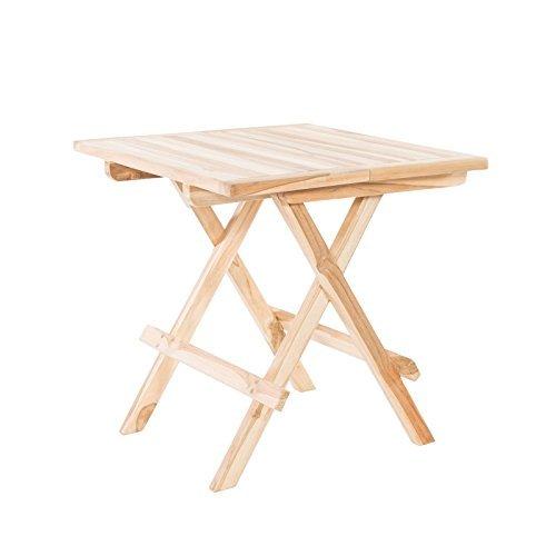 Klappbarer Beistelltisch Gartentisch aus Teak Holz 50x50 quadratisch - Holztisch massiv