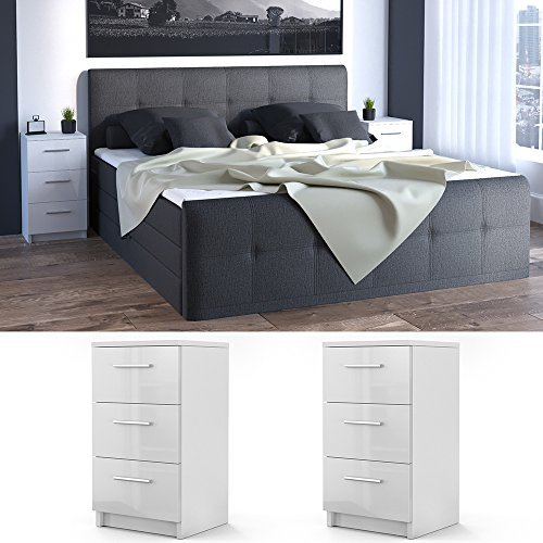 m bel24 m bel g nstig nachtkommode f r boxspringbett 2 er set 66cm hoch wei hochglanz. Black Bedroom Furniture Sets. Home Design Ideas
