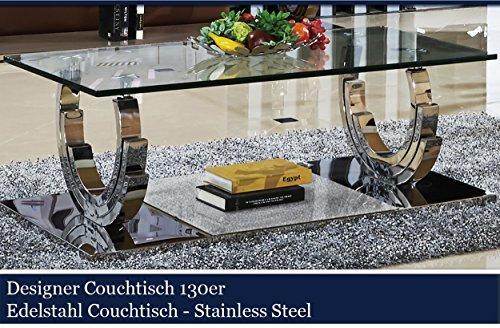 designer couchtisch edelstahl wohnzimmertisch glastisch glas hochglanz 130cmx70cmx42cm m bel24. Black Bedroom Furniture Sets. Home Design Ideas