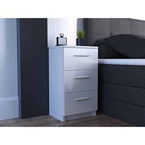 nachtkommode f r boxspringbett 2 er set 66cm hoch wei hochglanz nachtschrank nachttisch kommode. Black Bedroom Furniture Sets. Home Design Ideas