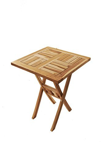 SAM® Teak-Holz Balkontisch, Gartentisch, Holztisch, 80 x 80 cm quadratisch, zusammenklappbar, leicht zu verstauen, geölt, Tisch aus Teak, Massiv-Holz [53262646]