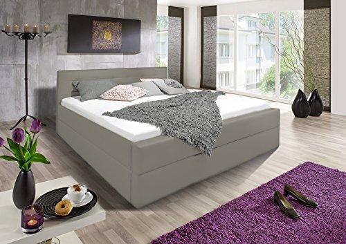 SAM® Polsterbett in muddy mit SAM®-Lederimitat Bezug modernes Designer-Bett mit angenehmer Polsterung und hohem Komfort, Boxspringbett-Optik, 180 x 200 cm [521688]