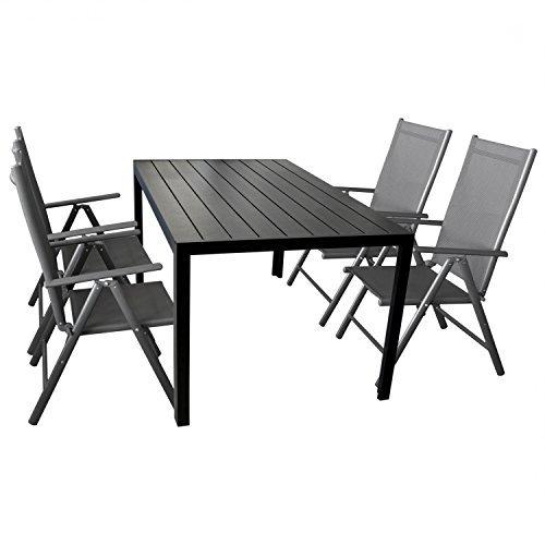 5-teilige-Gartengarnitur-Gartenmbel-Terrassenmbel-Set-Sitzgruppe-Aluminium-Gartentisch-Polywood-150x90cm-4x-Hochlehner-2x2-Textilen-0