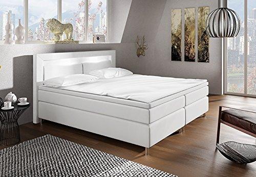 boxspringbett mit led beleuchtung und chromleisten. Black Bedroom Furniture Sets. Home Design Ideas