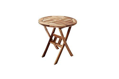 SAM® Teak-Holz Balkontisch, Gartentisch, Holztisch in rund, 70 cm Durchmesser, zusammenklappbarer Tisch, leicht zu verstauen