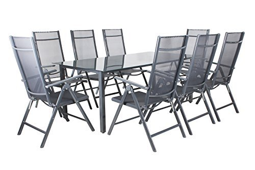 Miweba Moreno Aluminium Sitzgarnitur 190x100 Sitzgarnitur 8 Stühle Sitzgruppe TIsch Gartenset in verschiedenen Farben und Ausführungen (Farbe: Grau - Ausführung: Classic)