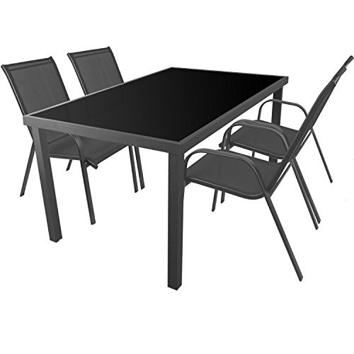 5tlg-Gartengarnitur-Sitzgarnitur-Sitzgruppe-Gartenmbel-Balkonmbel-Terrassenmbel-Set-Aluminium-Glastisch-150x90cm-4-Stapelsthle-mit-Textilenbespannung-0