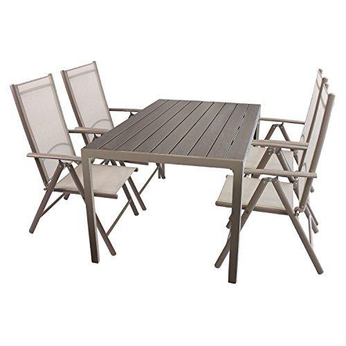 5tlg-Gartenmbel-Set-Sitzgruppe-Aluminium-Polywood-Non-Wood-Gartentisch-150x90cm-4x-Hochlehner-mit-Textilenbespannung-klappbar-Bistrostuhl-Gartenstuhl-Klappstuhl-Balkonstuhl-Sitzgarnitur-Gartengarnitur-0