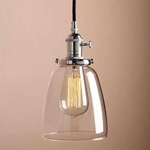 Pathson Industrie Loft-Pendelleuchte Antik Deko Design Klar Glas innen Pendelleuchte Hängeleuchte Vintage Hängelampen Hängeleuchte Pendelleuchten (Chrom Farbe)