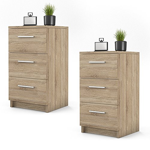 m bel24 m bel g nstig nachtkommode f r boxspringbett 2 er set 66cm hoch sonoma nachtschrank. Black Bedroom Furniture Sets. Home Design Ideas