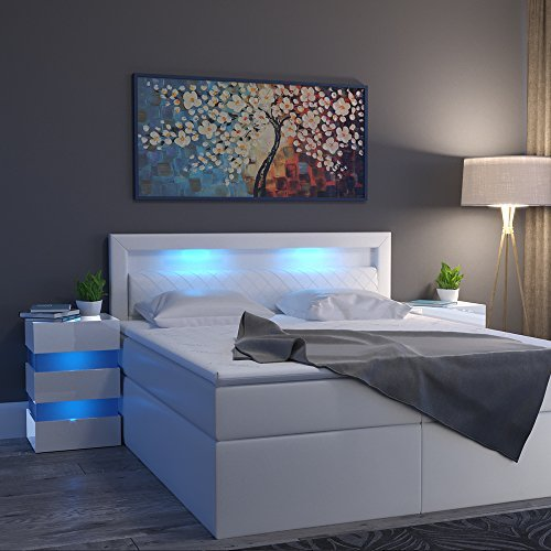 nachttisch led 70cm hoch f r boxspringbett wei hochglanz nachtkommode nachtschrank kommode. Black Bedroom Furniture Sets. Home Design Ideas