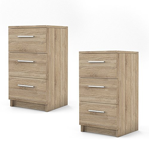 nachtkommode f r boxspringbett 2 er set 66cm hoch sonoma nachtschrank nachttisch kommode schrank. Black Bedroom Furniture Sets. Home Design Ideas