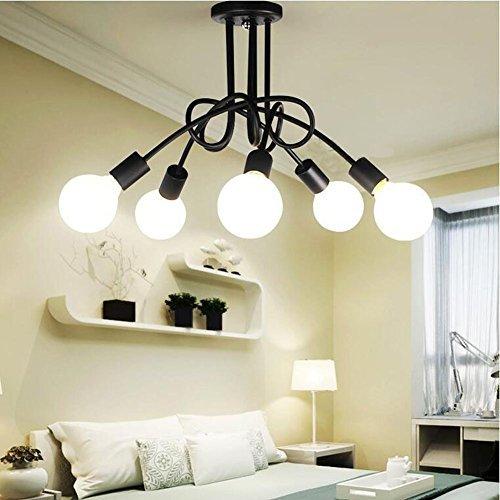 Schwarz 5 köpfe Verstellbar Retro Industrielle Deckenleuchte Lampenschirm, E27 Pendelleuchte für Bar Restaurant Zimmer Loft Küche Dekoration