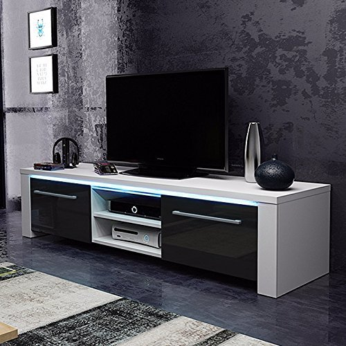 m bel24 m bel g nstig tv schrank lowboard sideboard conoy mit led wei matt schwarz. Black Bedroom Furniture Sets. Home Design Ideas