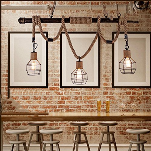 Natood Nordic Retro Industrie Kronleuchter Seil Kreative Kunst Bar Café Piraten Pipe Restaurant Persönlichkeit Pendelleuchte Größe 150 * 110cm Power 10W Nordic Pirate Style Industrial Revolution