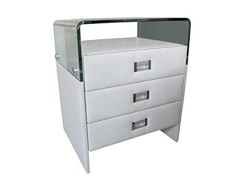 SAM® Nachtkommode in weiß mit 2 Ablageflächen, optimal für Boxspring-Betten in modernem Design [521323]