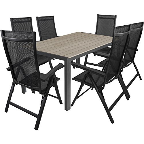 7tlg-Gartengarnitur-150x90cm-Aluminium-Gartentisch-mit-Polywood-Tischplatte-inkl-Alu-Hochlehner-mit-4x4-Textilenbespannung-Sitzgruppe-Gartenmbel-Set-0