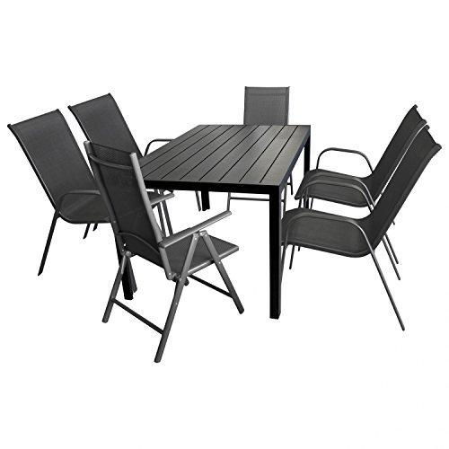 7tlg-Gartenmbel-Terrassenmbel-Set-Gartengarnitur-Sitzgruppe-Aluminium-Gartentisch-Polywood-150x90cm-2x-Hochlehner-4x-Stapelstuhl-0