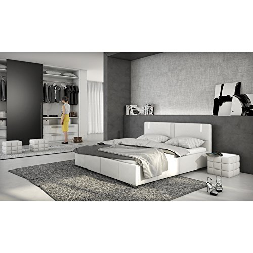 nacht tisch gesteppt mit plexiglas und led wei 41x41cm quadratisch boco design beistell. Black Bedroom Furniture Sets. Home Design Ideas