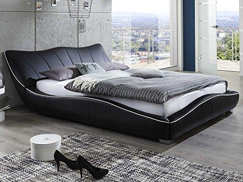 Polsterbett 160x200 mit Lattenrost Designer Bett Stella Schwarz