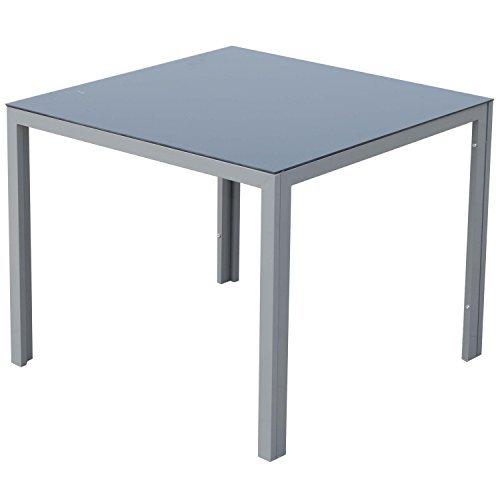 Outsunny® Alu Gartentisch Balkontisch Terrassentisch Esstisch Tisch mit Glasplatte 87x87cm
