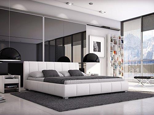 SAM® Designer-Polsterbett Luna in weiß mit gepolstertem, hohen Kopfteil, Bett in modernem Design und pflegeleichter Oberfläche aus edlem Samolux®-Bezug und massiven Füßen 180 x 200 cm [521861]