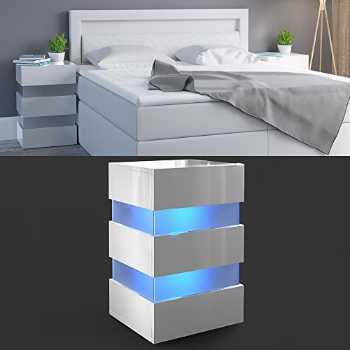 m bel24 m bel g nstig nachttisch led 70cm hoch f r boxspringbett wei hochglanz nachtkommode. Black Bedroom Furniture Sets. Home Design Ideas
