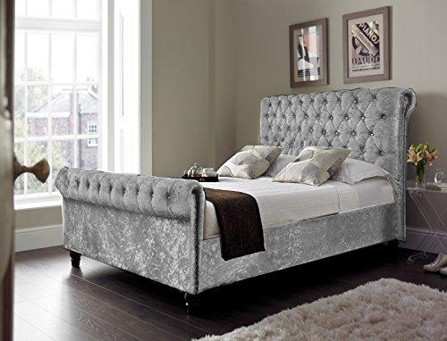 Chesterfield Classy modernen Bett Schlitten Stil Vollbezug Designer Bett in Crushed Samt oder Chenille Stoff (122cm 15,2cm doppelt, Crushed velvet-grey)