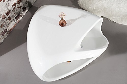 M bel24 design couchtisch twister 80 cm weiss hochglanz for Design couchtisch twister weiss hochglanz beistelltisch