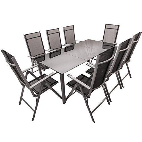 Aluminium Gartengarnitur Mailand 9-teilig mit Tisch und 8 Stühlen