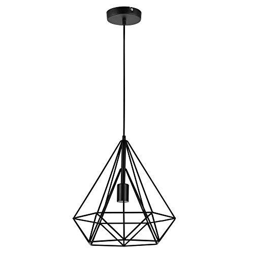 [lux.pro] LED Hängeleuchte Industria Schwarz / Deckenleuchte (1 x E27 Sockel)(37cm x Ø 40cm) Hängeleuchte / Vintage / Retro Design / Industrial Design (Schwarz)