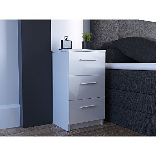 m bel24 m bel g nstig nachtkommode f r boxspringbett 66cm hoch wei hochglanz nachtschrank. Black Bedroom Furniture Sets. Home Design Ideas