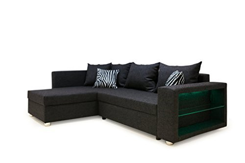 m bel24 b famous 100613 passau polsterecke ecksofa mit ledrgb beleuchtung im armteil 162 x 226 x. Black Bedroom Furniture Sets. Home Design Ideas