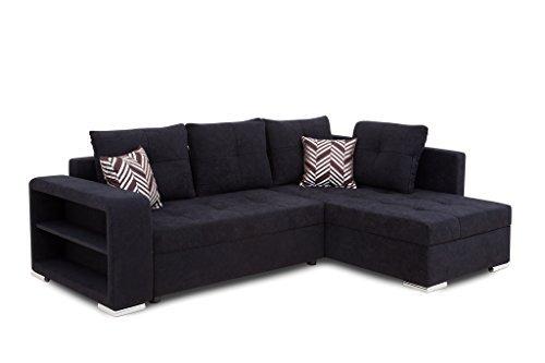 b famous jonas ecke pur polsterecke mit bettfunktion und bettkasten ecksofa stoff schwarz 162. Black Bedroom Furniture Sets. Home Design Ideas