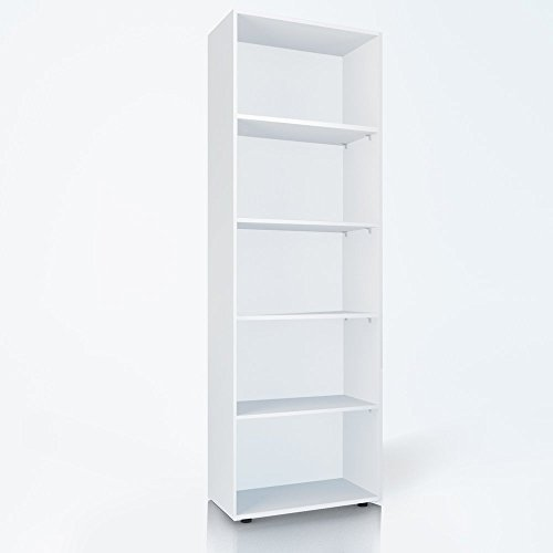 Bücherregal 5 Fächer Regal Standregal Aktenregal Aktenschrank (Weiß)
