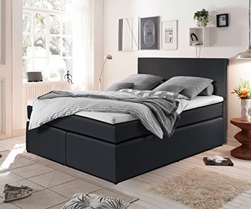 bett elexa schwarz 140 x 200 cm matratze und topper federkern boxspringbett m bel24 m bel. Black Bedroom Furniture Sets. Home Design Ideas