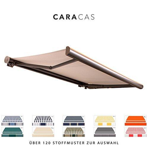 BroxSun Kassettenmarkise Caracas | Breite 2,0 bis 6m | Auslage bis 3,6m | Auswahl: 120 Stoffe, manuell oder elektrisch uvm. | wetterfeste Markise elektrisch Sonnenschutz Terrasse beschattung breit