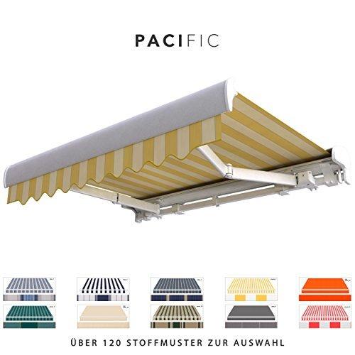 BroxSun Kassettenmarkise Pacific | Breite 2,1 bis 7m | Auslage bis 3,6m! | Auswahl: 120 Stoffe, manuell oder elektrisch uvm. | wetterfeste Markise elektrisch Sonnenschutz Terrasse beschattung breit