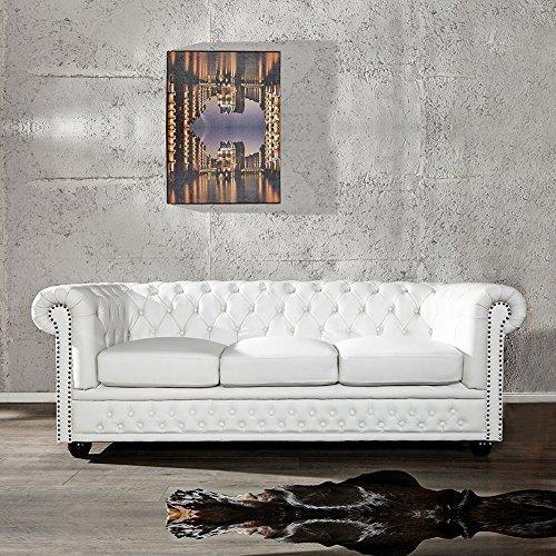 cag edles 3er sofa winchester weiss aus kunstleder im klassisch englischen chesterfield. Black Bedroom Furniture Sets. Home Design Ideas